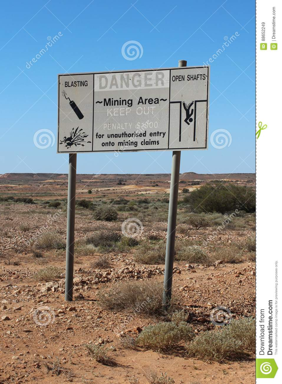 Warning sign at Coober Pedy in South Australia