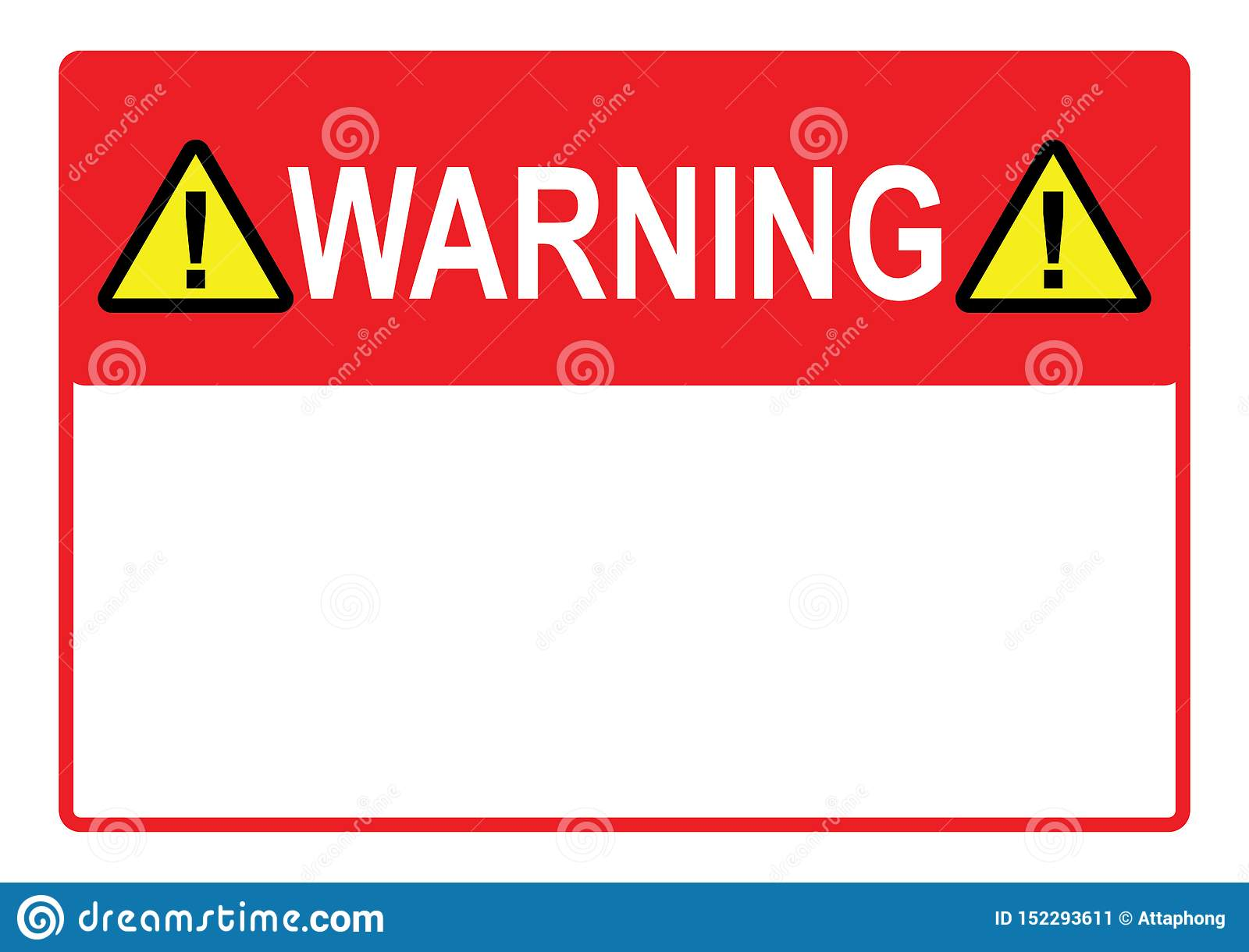 picture regarding Printable Paper Templates called Caution Indication Hazard Signal With Blank Region For Your Words