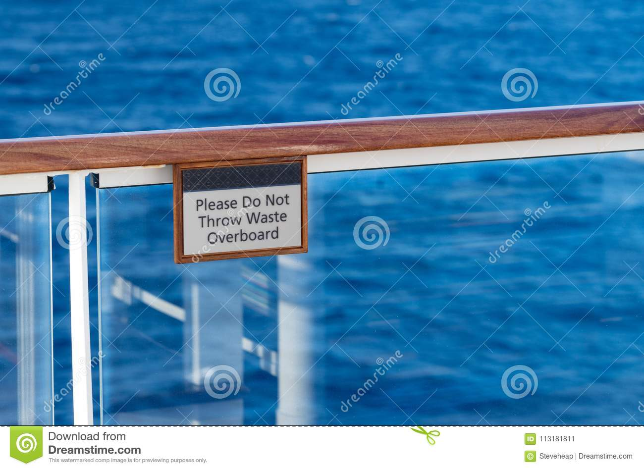 Do Not Throw Waste Overboard Warning Sign On Cruise Ship ...