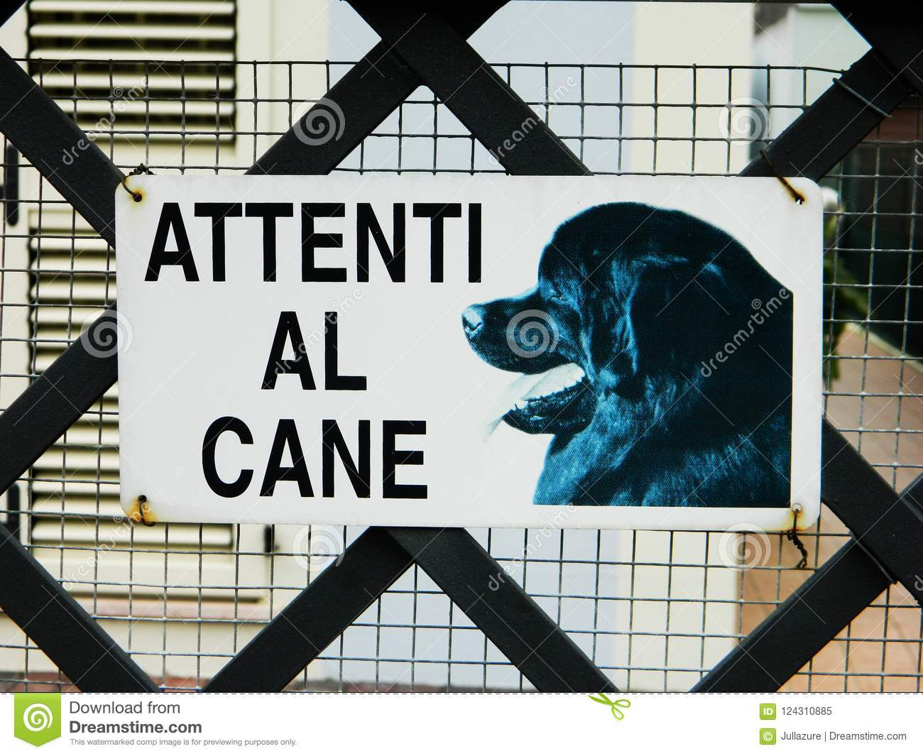 Warning Sign In Italian Dangerous Dog Beware Of Dog Signs In A