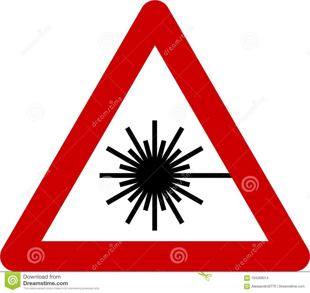 Warning Sign With Laser Beam Stock Illustration Illustration Of