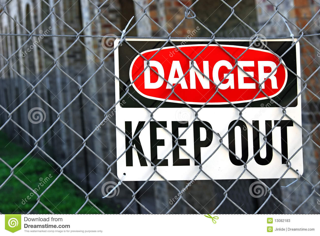 Warning Sign On Metal Fence Stock Photos Image 13082183