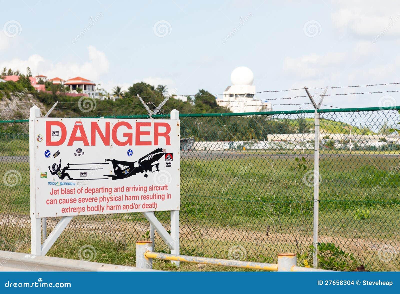 Warning sign at Princess Juliana airport