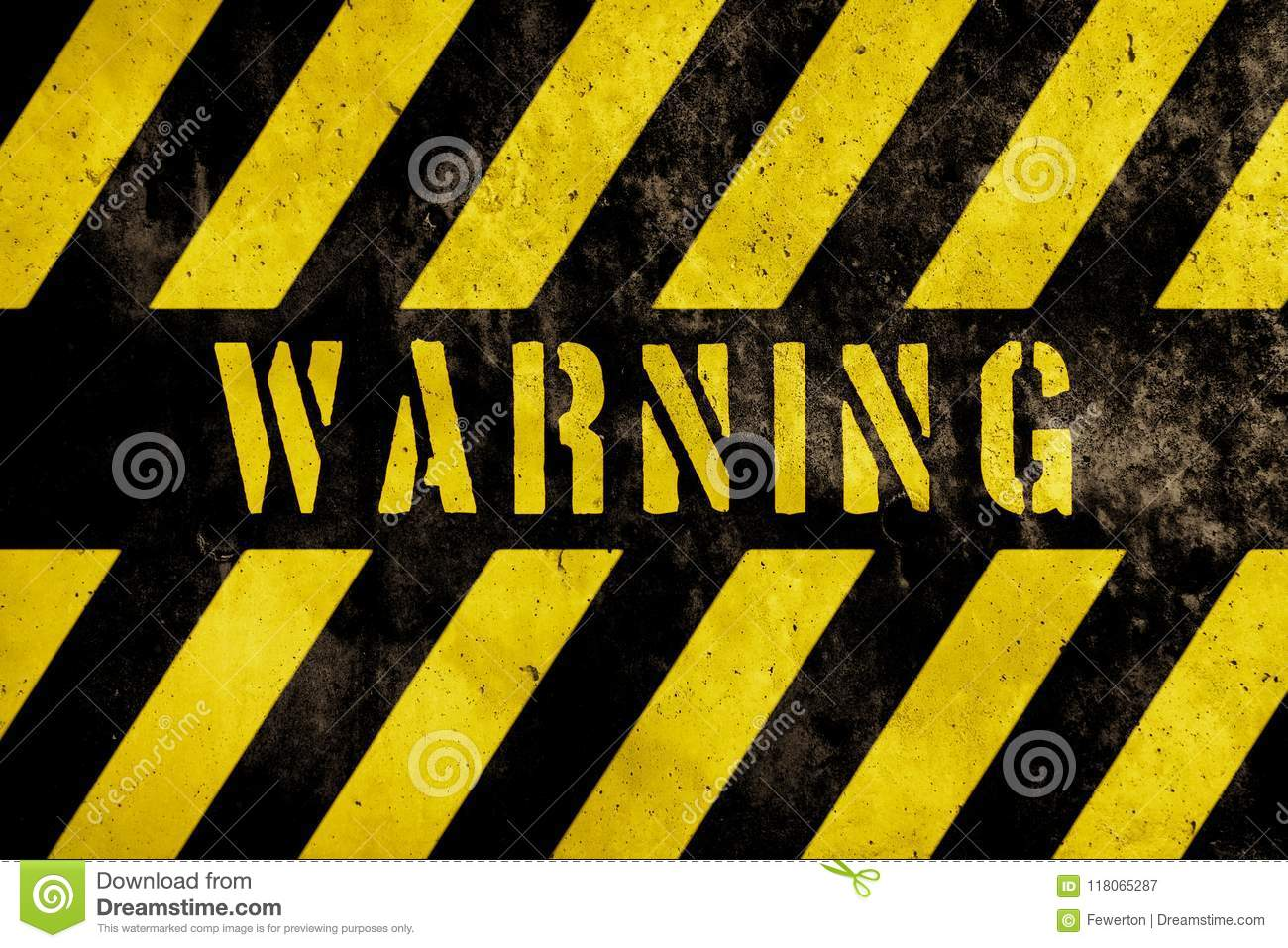 Warning danger sign text with yellow and dark stripes painted over concrete wall facade texture background.