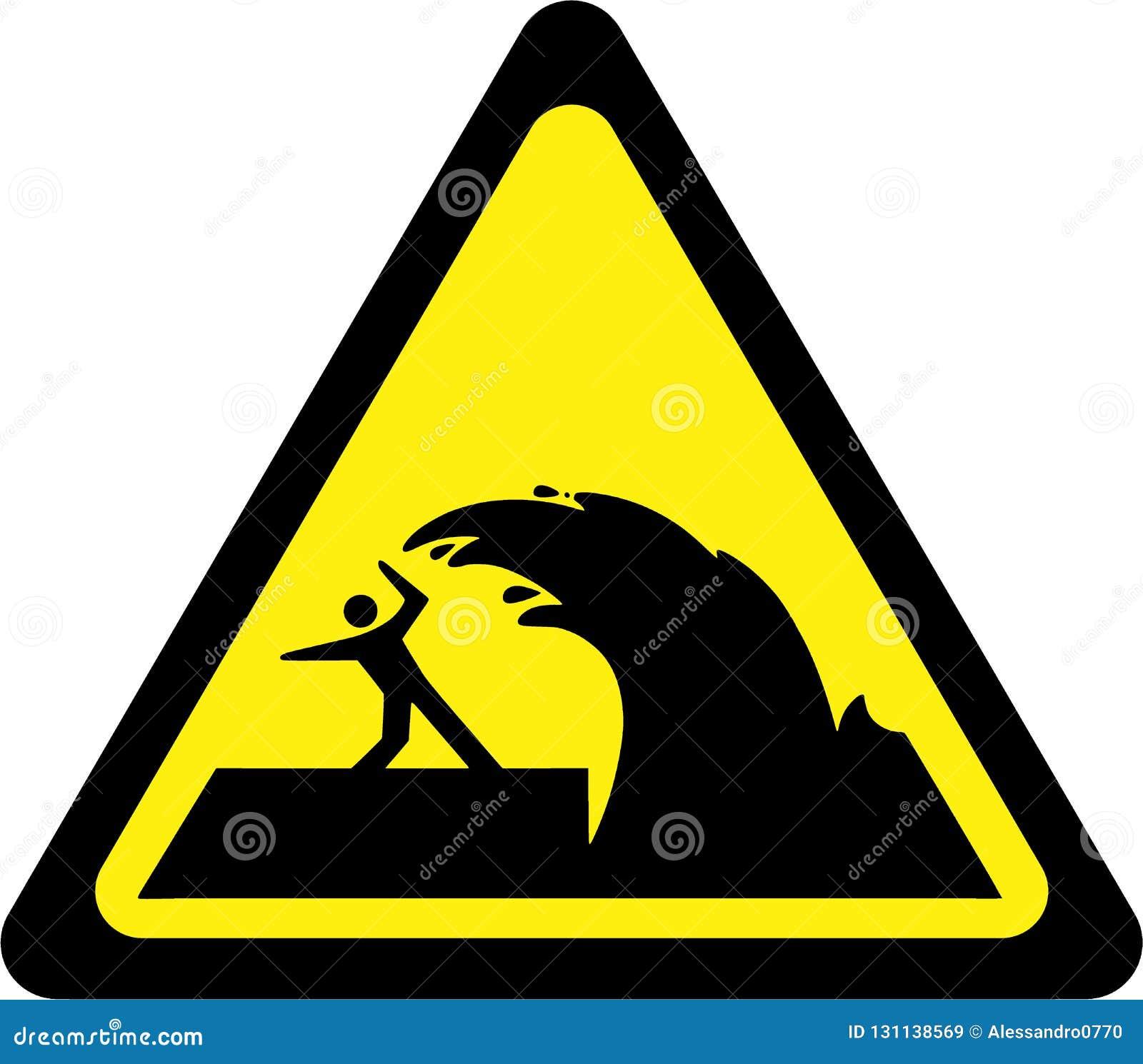warning sign with tsunami stock illustration illustration