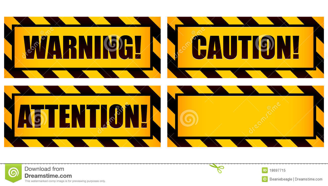 Warning Signs stock vector  Illustration of industrial - 18697715