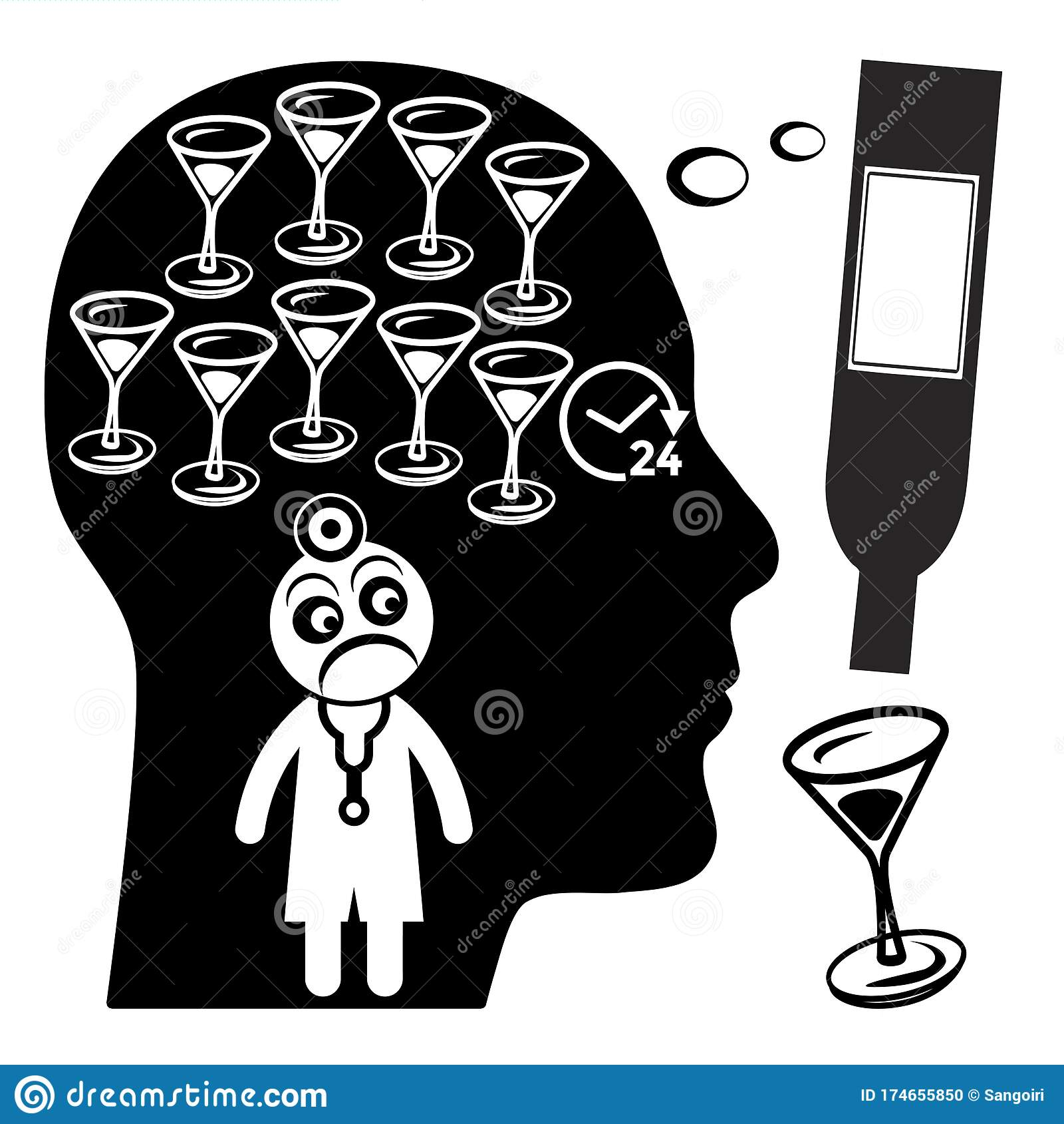 Warning Signs Of Alcoholism Stock Illustration