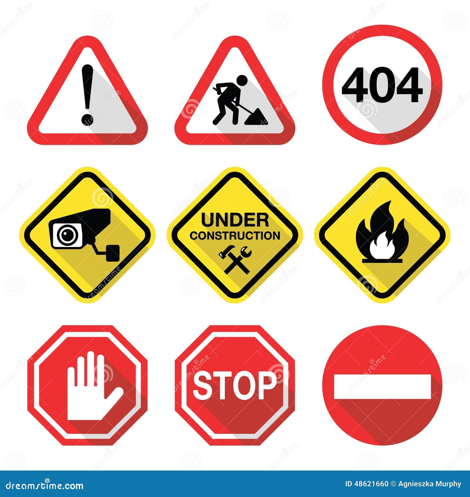Warning Signs - Danger, Risk, Stress - Flat Design Stock Illustration ... Under Construction Signs