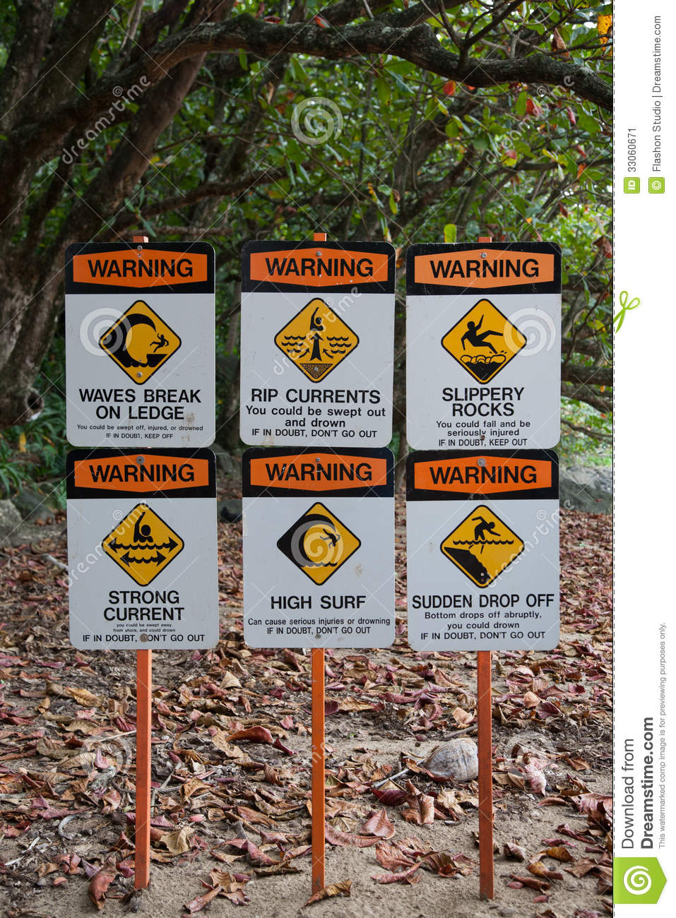 Warning Signs on Surfing Site Beach Hawaii