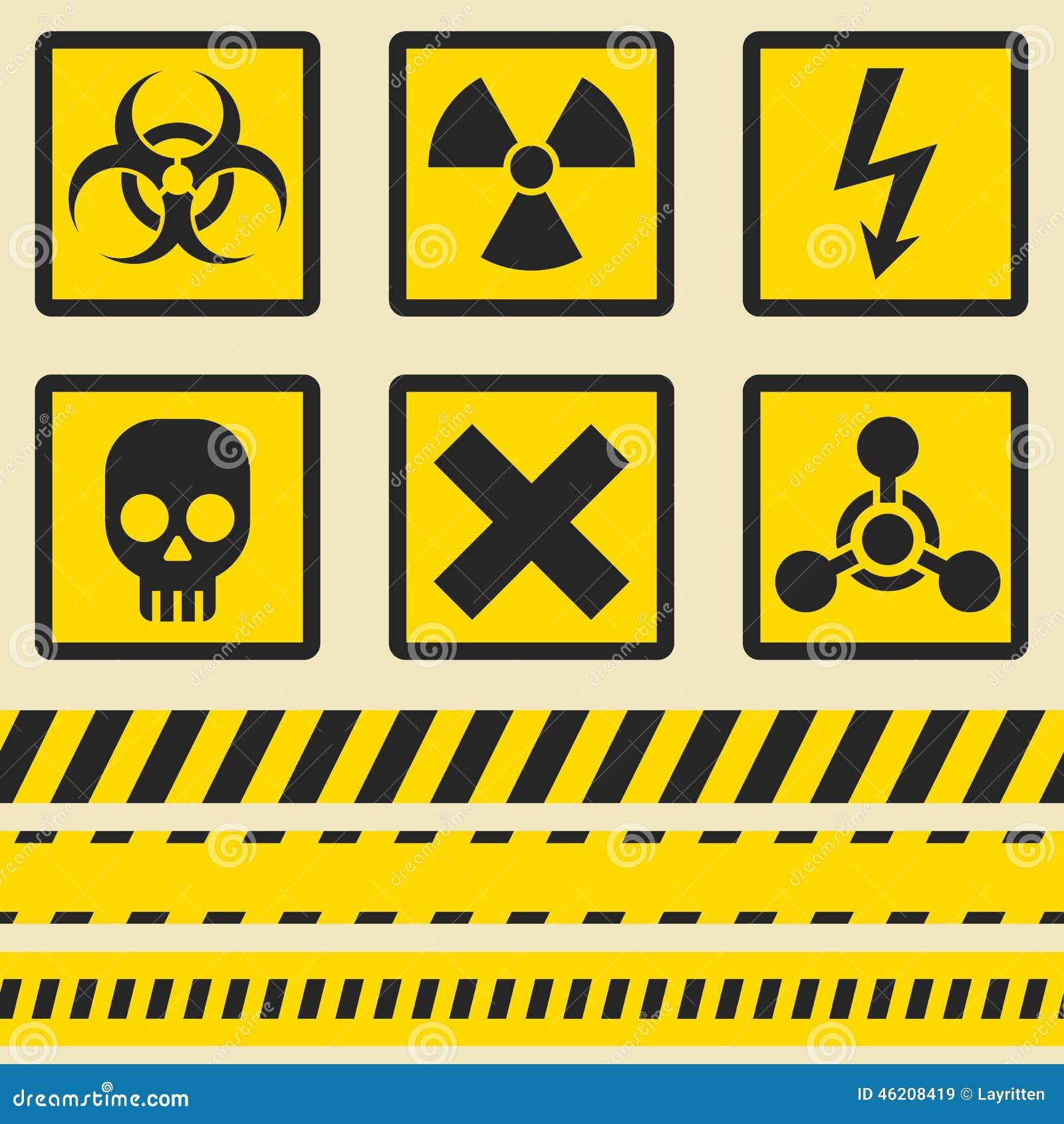 Warning signs symbols seamless tape stock vector illustration warning signs symbols seamless tape buycottarizona Choice Image