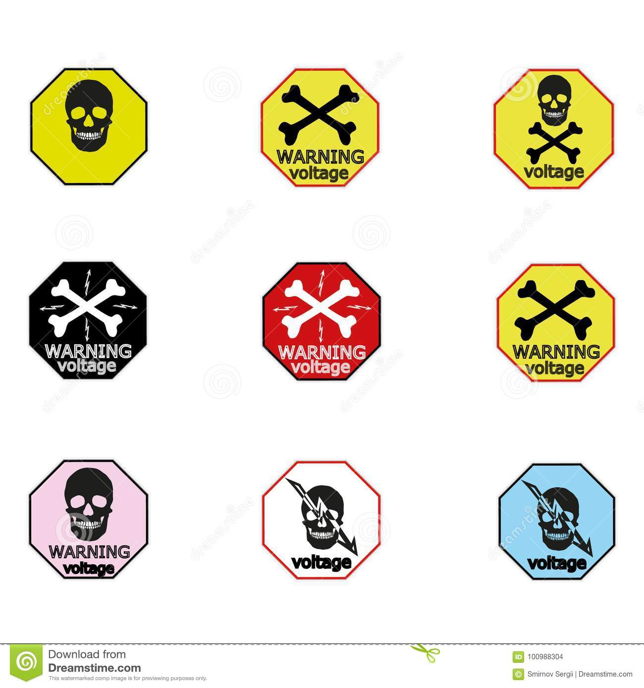warning sticker labels for electrical consumers voltage notice stock