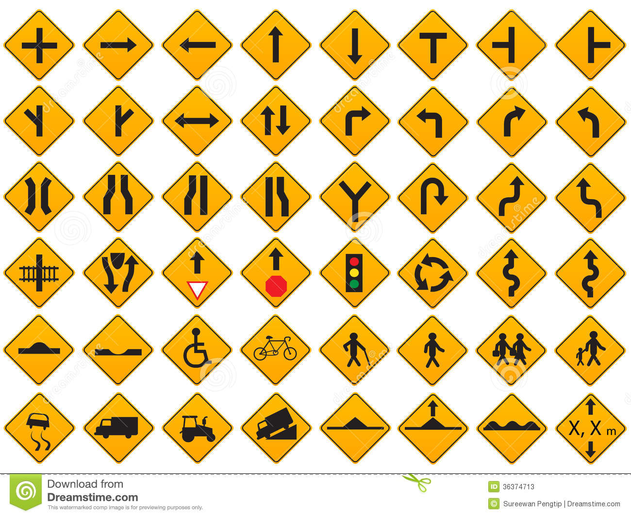 Warning traffic signs vector set stock vector illustration of