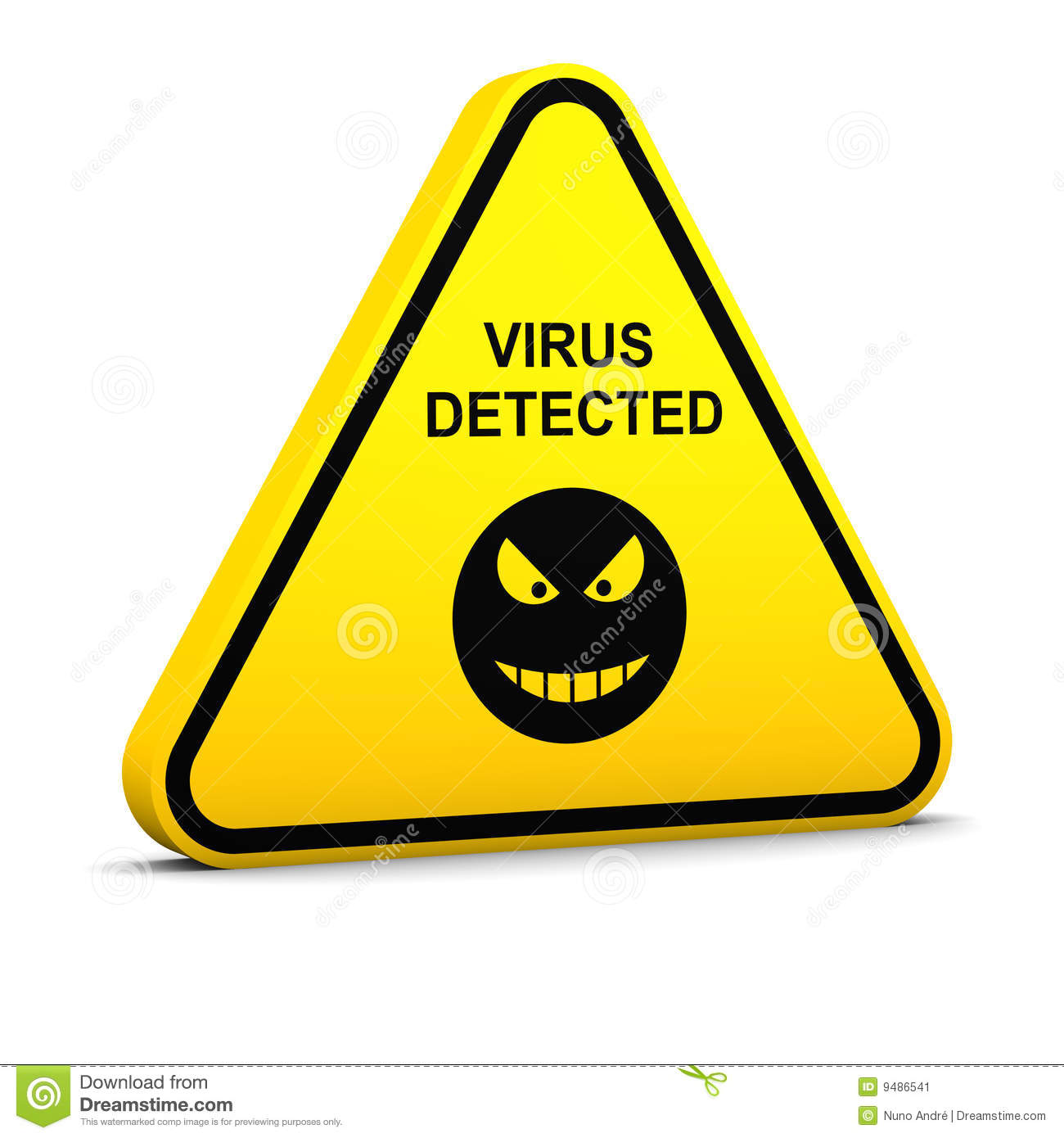Warning: Virus Detected Stock Image - Image: 9486541