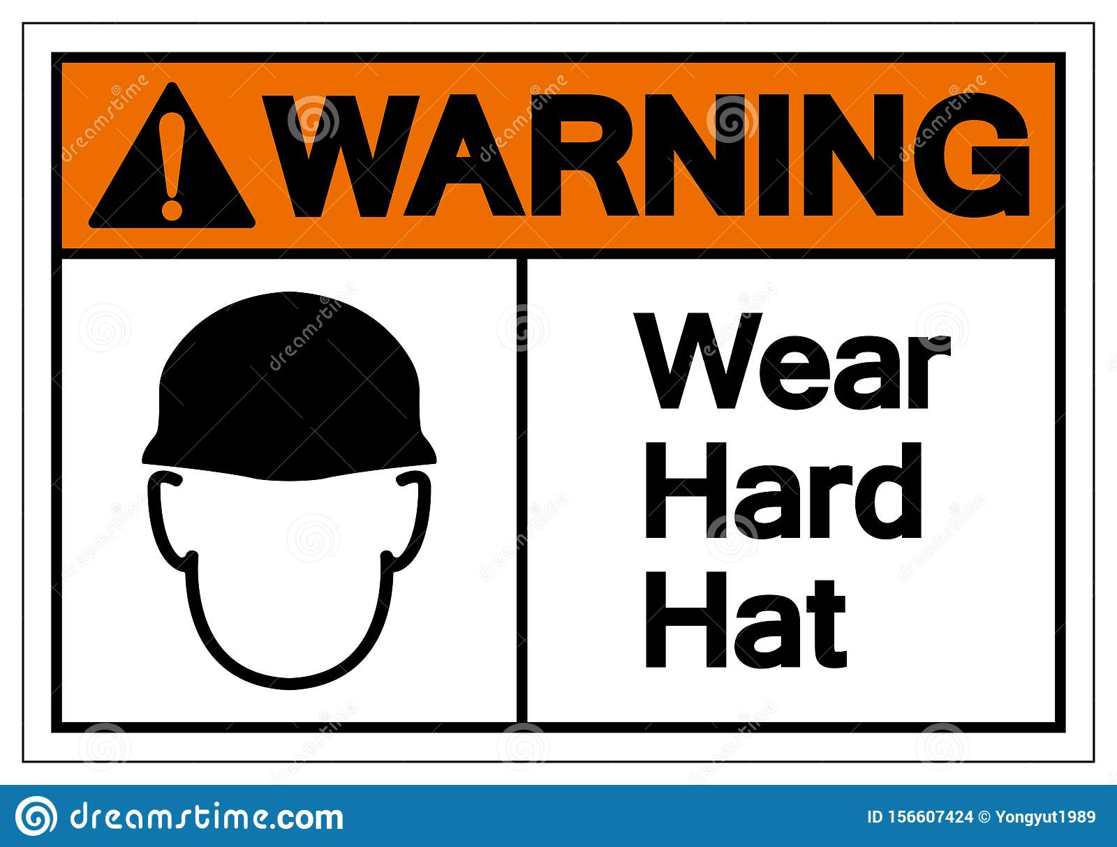 Warning Wear Hard Hat Symbol Sign, Vector Illustration, Isolate On White Background Label. EPS10