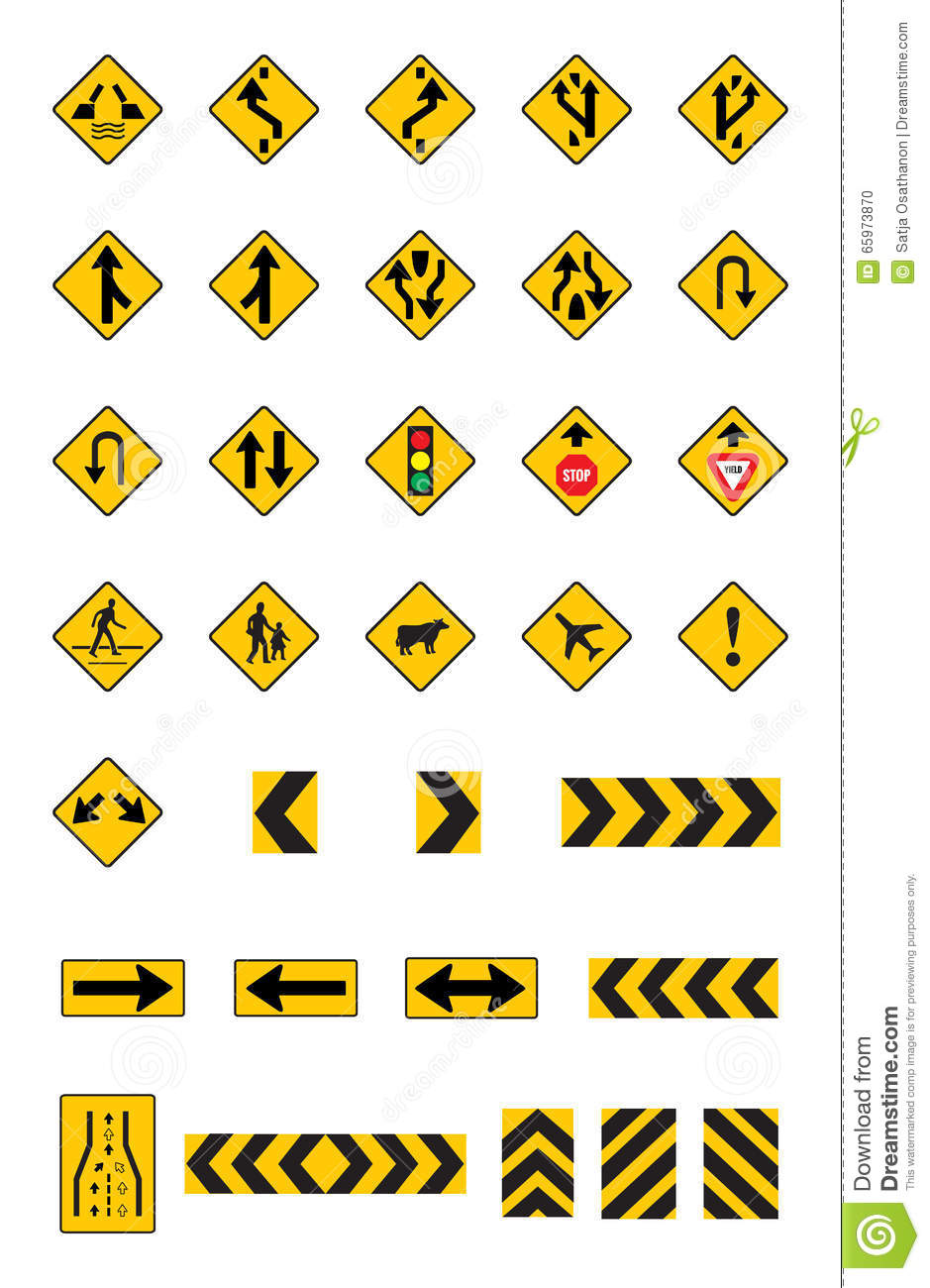 warning yellow road signs traffic signs set stock vector