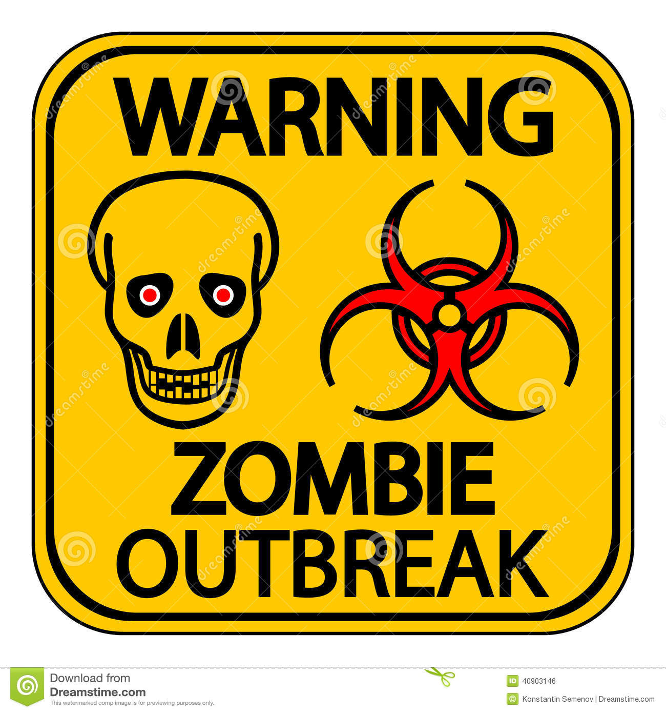 Warning Zombie Outbreak Stock Vector - Image: 40903146