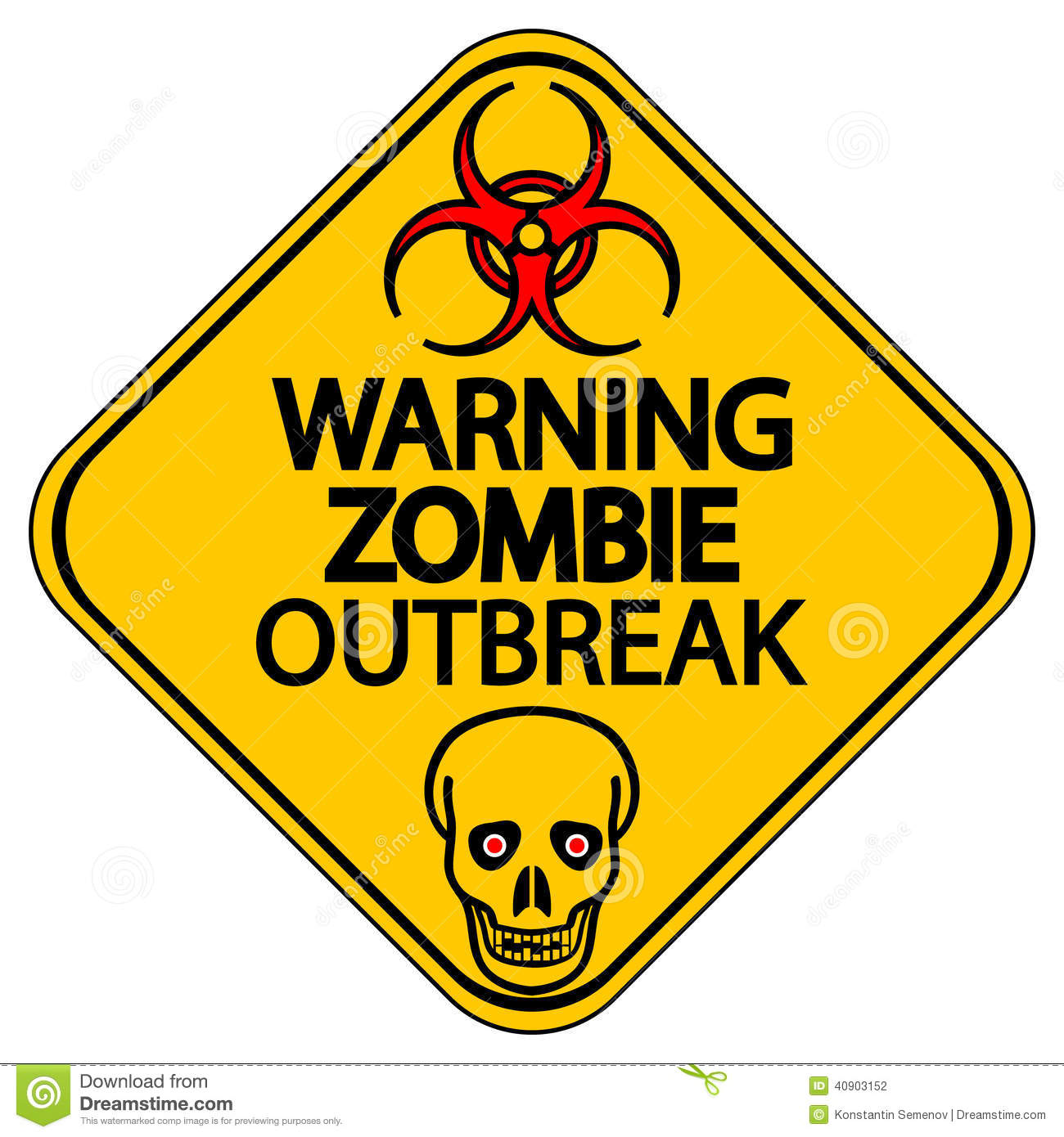 Warning Zombie Outbreak Stock Vector - Image: 40903152