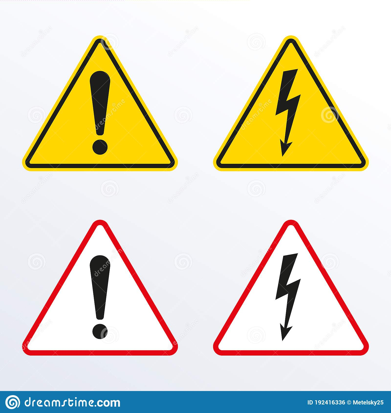 Warnsignale Der Vorsicht Mit Ausrufezeichen Und Elektrischen ...