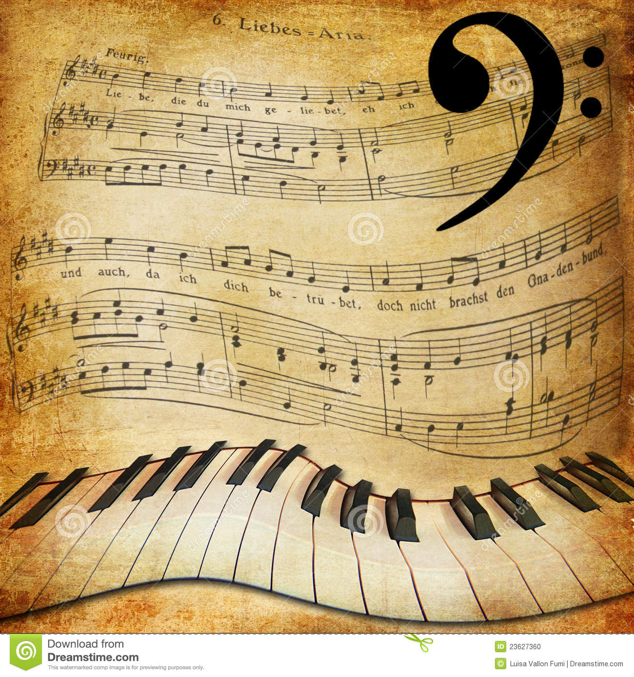 Warped Piano And Music Sheet Background Stock Photo - Image