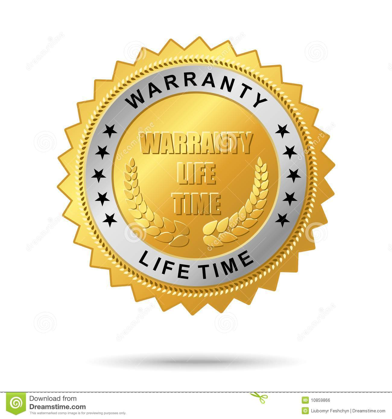 Royalty Free Stock Image: Warranty life time golden label