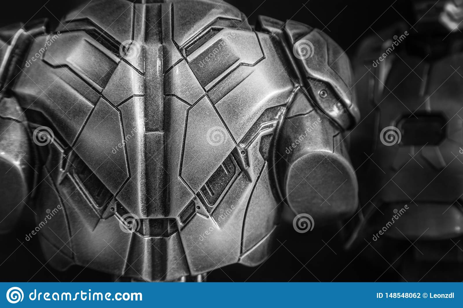 Warrior back metal armor closeup view
