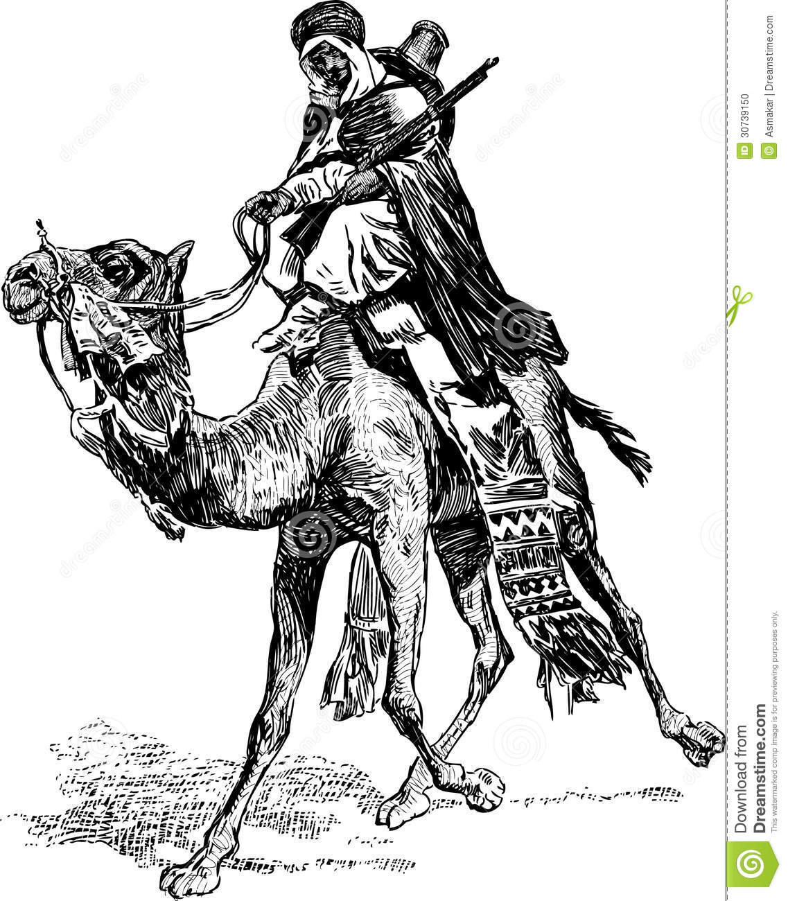 Warrior on a camel stock vector  Illustration of sketch - 30739150