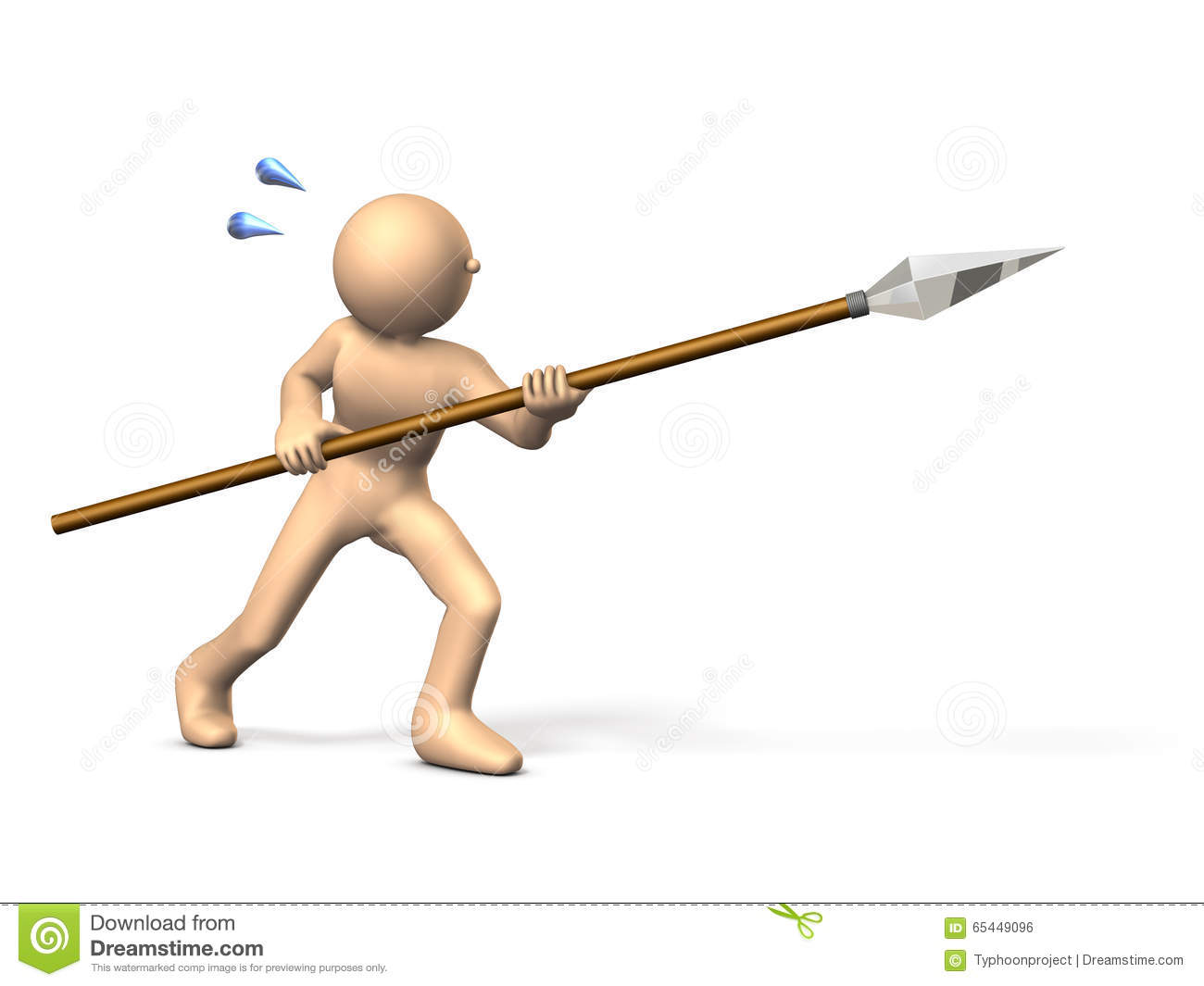 Warrior Fighting With A Spear Stock Illustration
