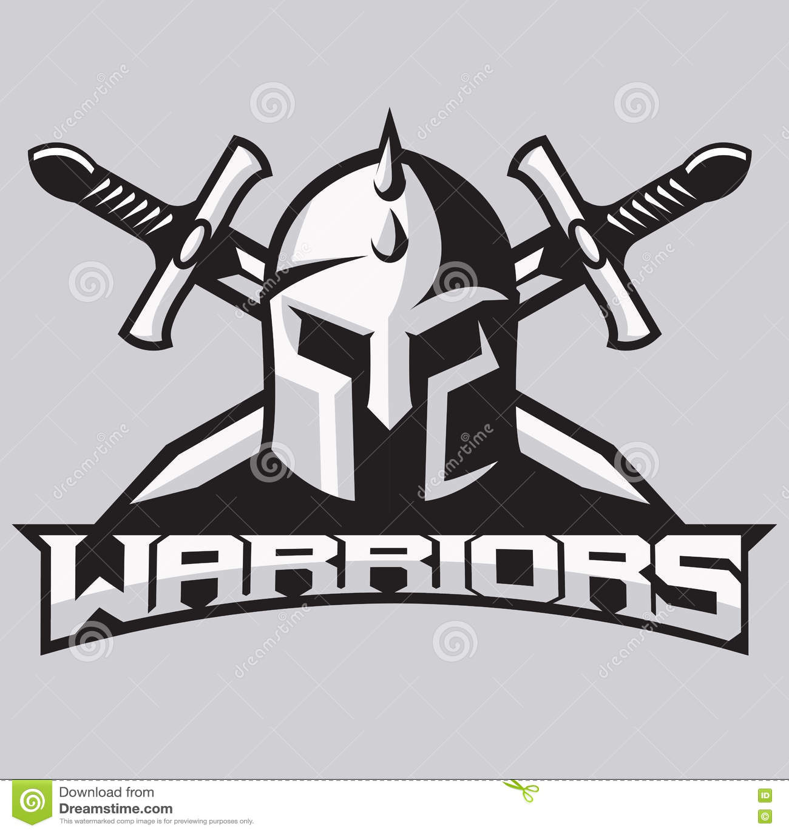Warrior Mascot For Sport Teams. Helmet With Swords, Logo, Symbol On ...