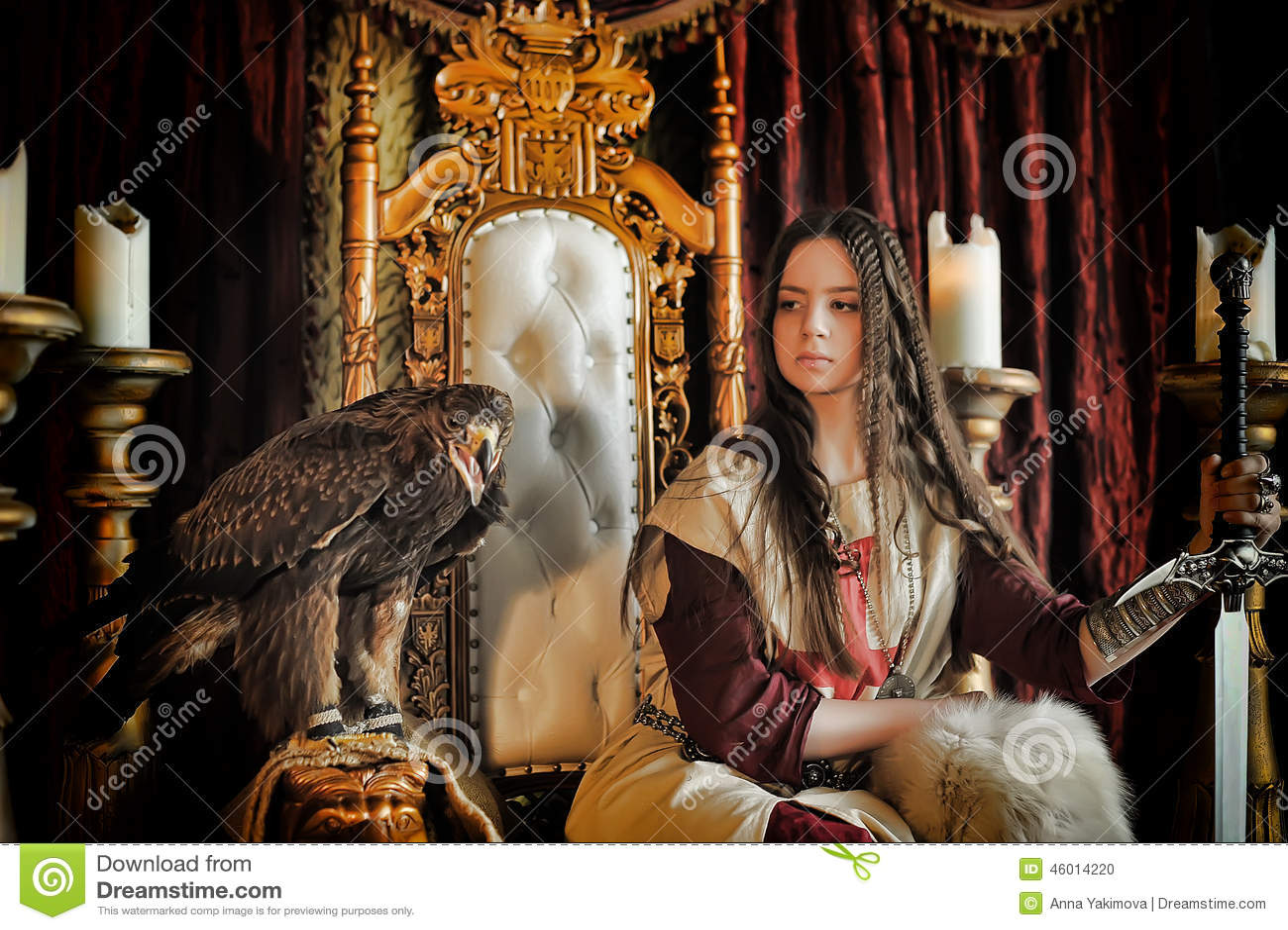 Warrior Princess On The Throne Stock Photo Image 46014220