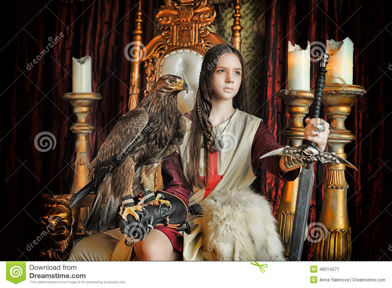 Warrior Princess On The Throne Stock Image Image Of