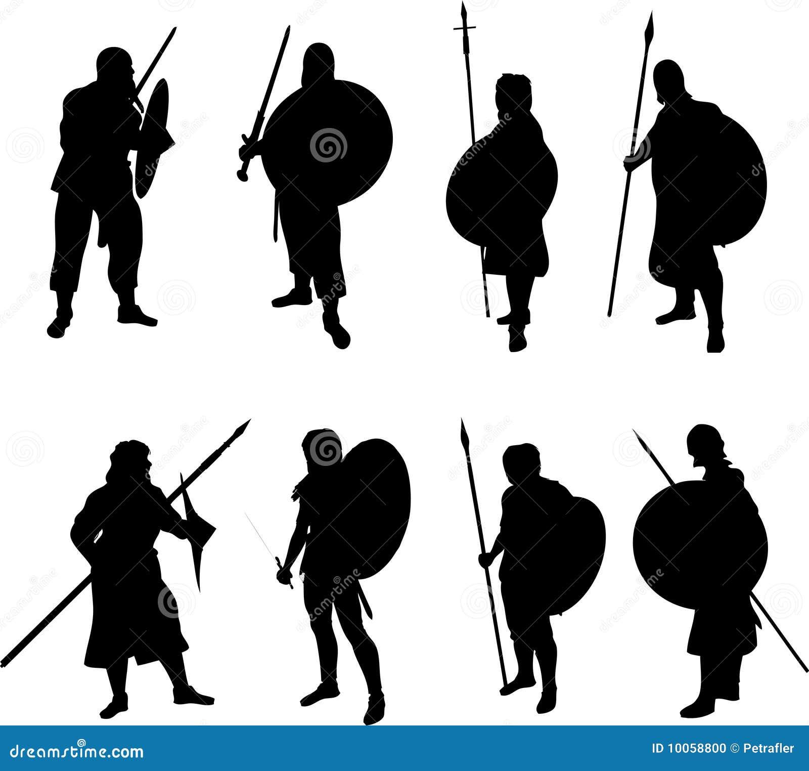 Warrior Silhouettes Stock Vector Illustration Of Lance