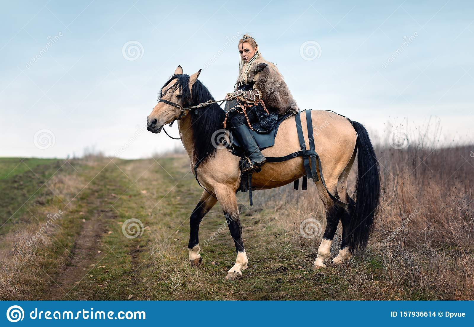 Warrior Viking Blonde Female Riding A Horse Medieval Movie Scene Stock Photo Image Of Movie Beauty 157936614