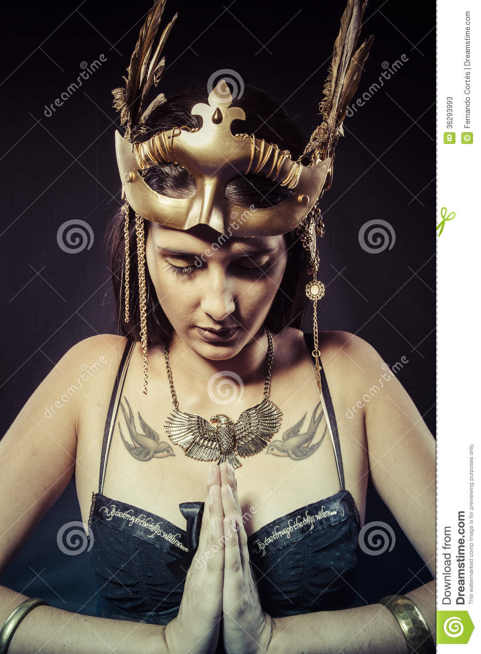 Warrior Woman With Gold Mask, Long Hair Brunette Long Hair Pro Stock Photos - Image -9510