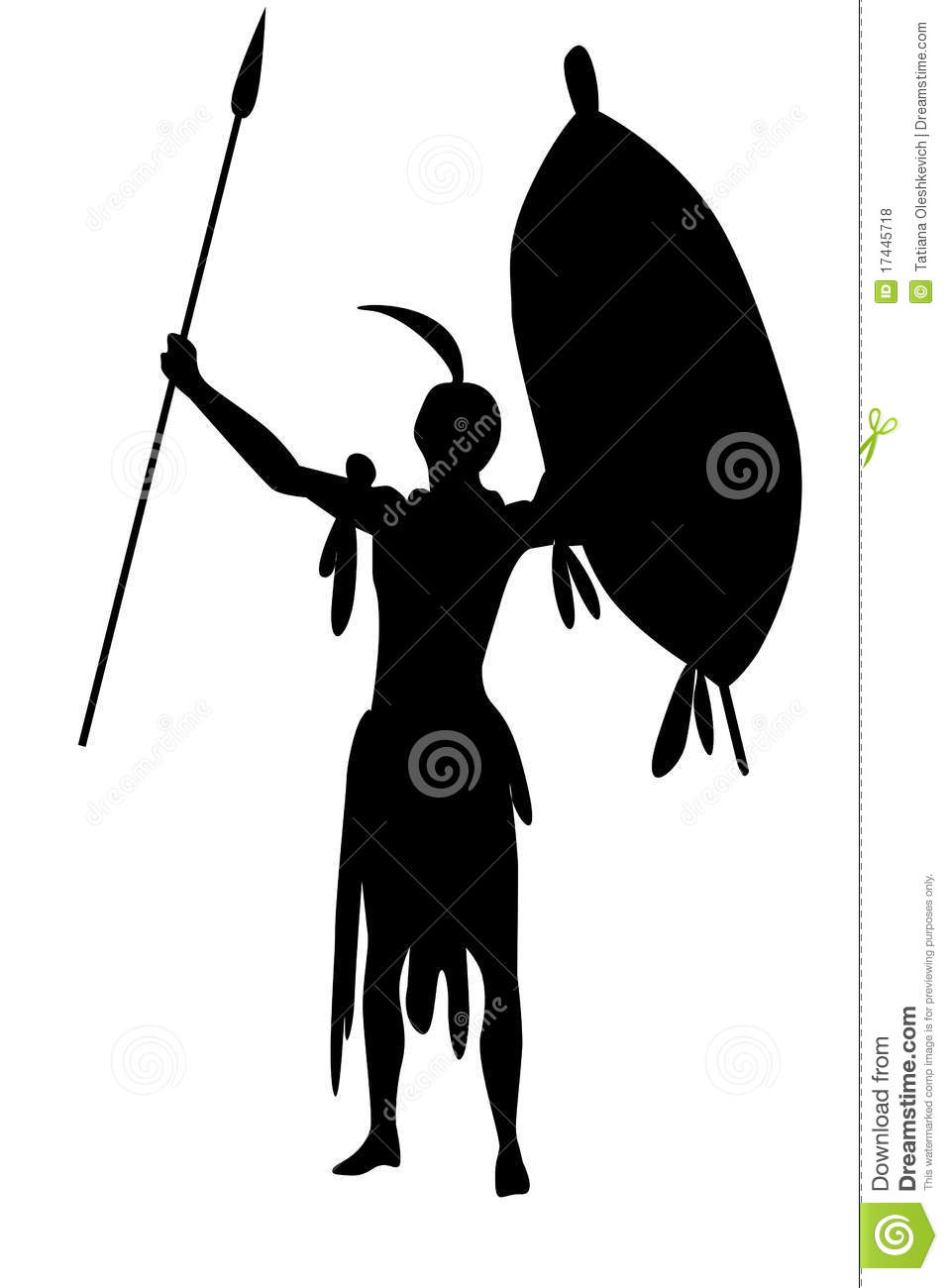 Warrior Zulu With Shield And Spears Isolate Royalty-Free ... Zulu Shield Drawing