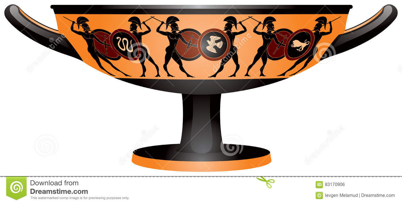 Warriors On The Ancient Greece Kylix Drinking Cup Stock