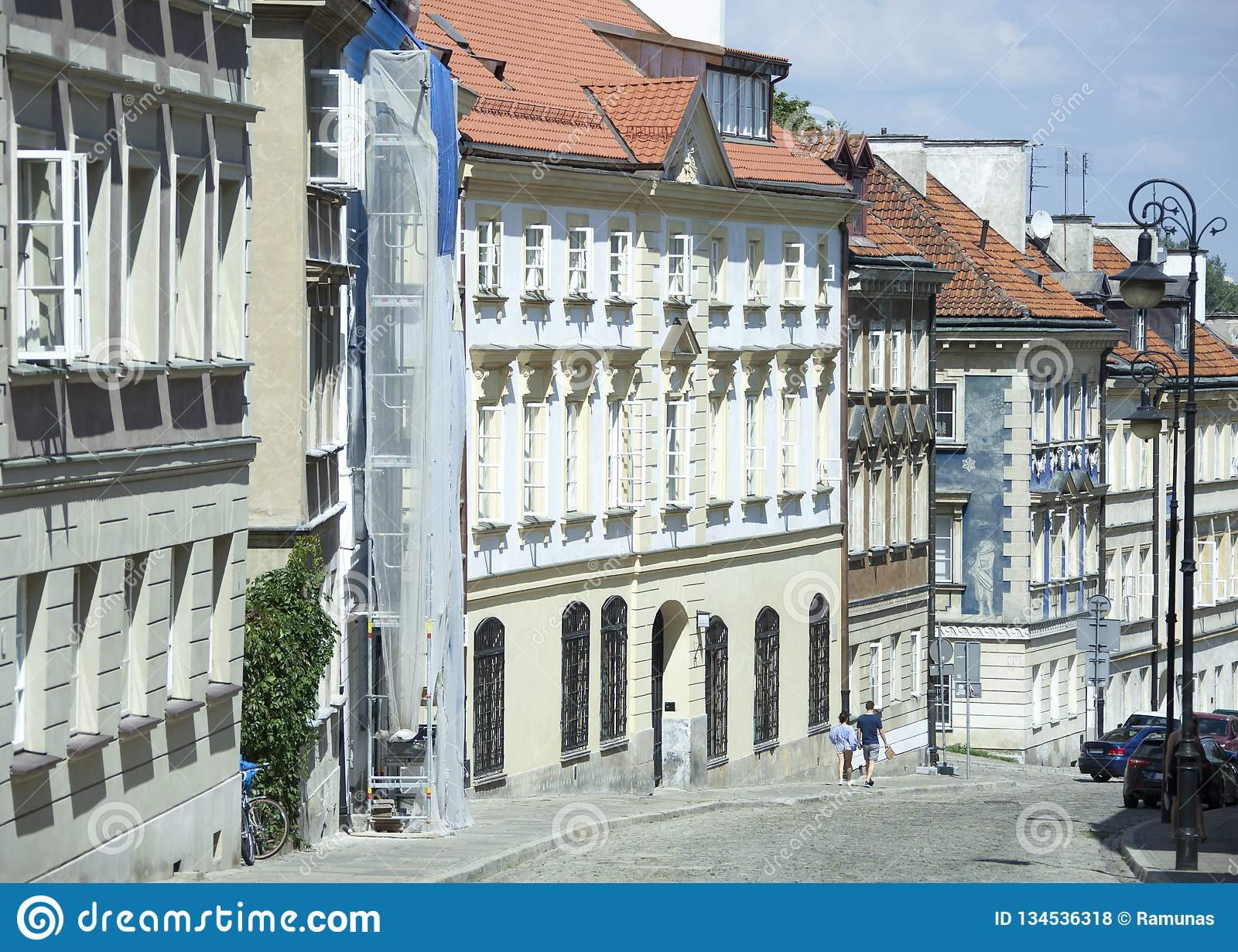 Warsaw Mostowa Street. The historic New Town district Mostowa bridge Street, the first street in Warsaw that was made of brick Poland royalty free stock photos