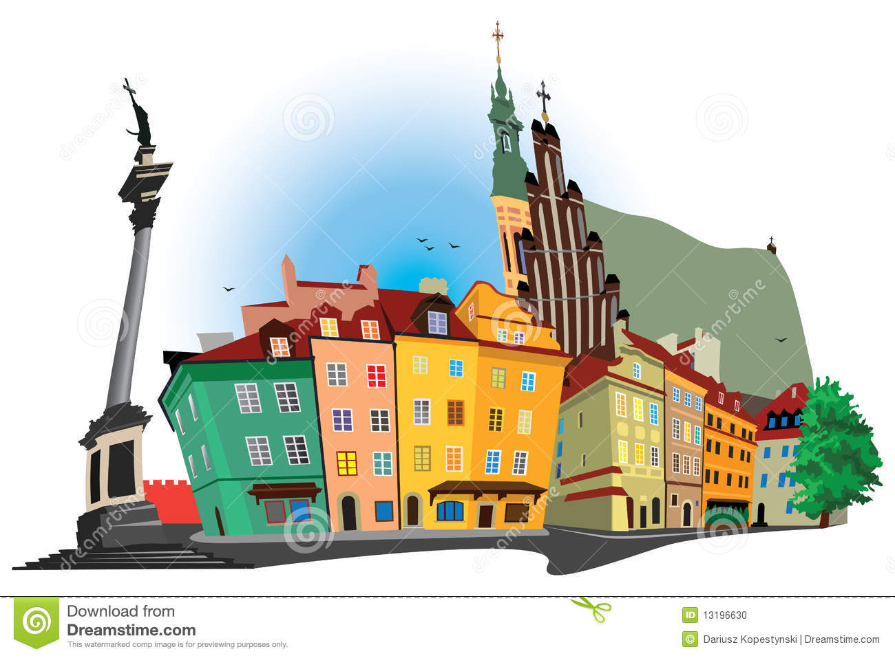 The Illustration Of Old Town In The Poland Cartoon Vector