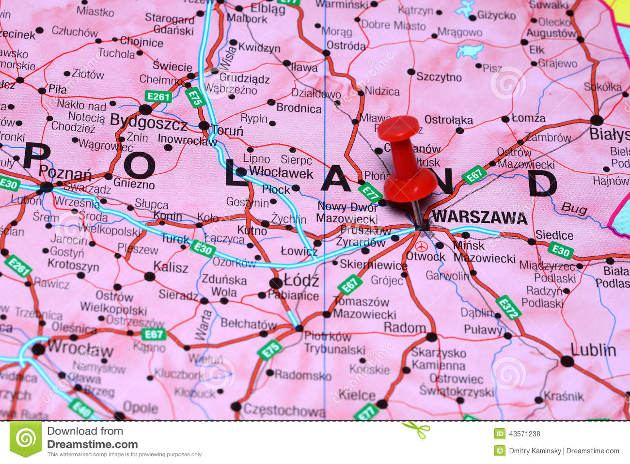 Warsaw Europe Map.Warsaw Pinned On A Map Of Europe Stock Photo Image Of Concept