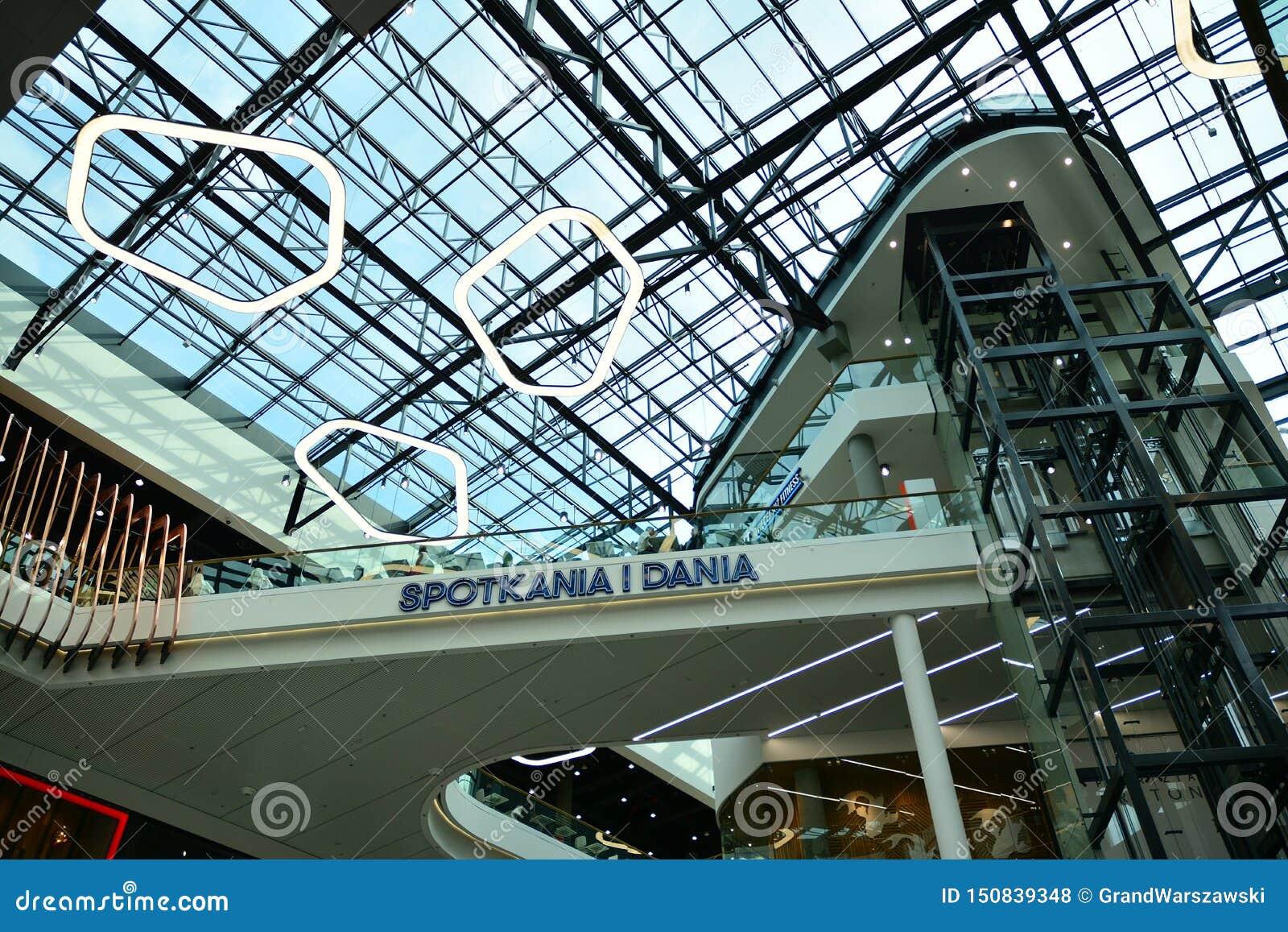 Interior of modern shopping center Galeria Mlociny.