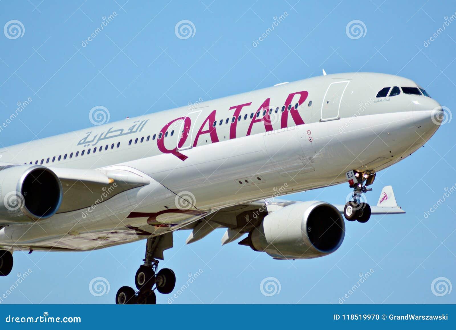 Plane A7-AEJ Qatar Airways Airbus A330-302 just before landing at the Chopin airport.