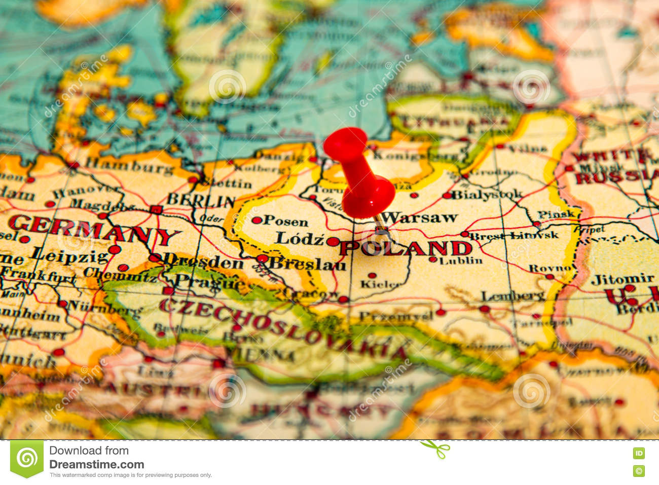 Warsaw, Poland Pinned On Vintage Map Of Europe Stock Image - Image ...
