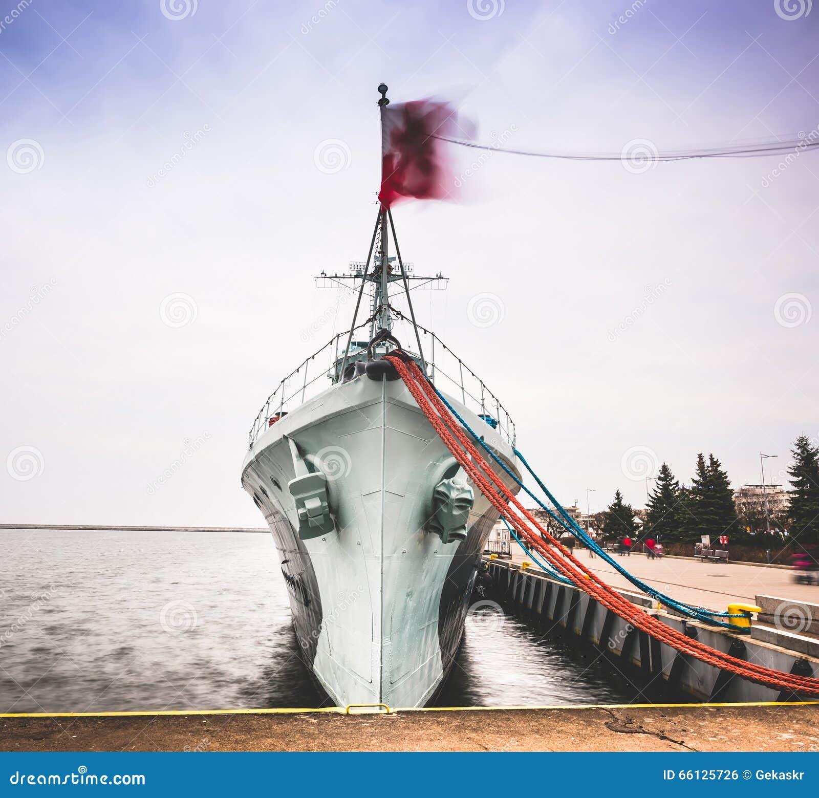 Warship in Gdansk stock photo  Image of cloudy, landmark - 66125726