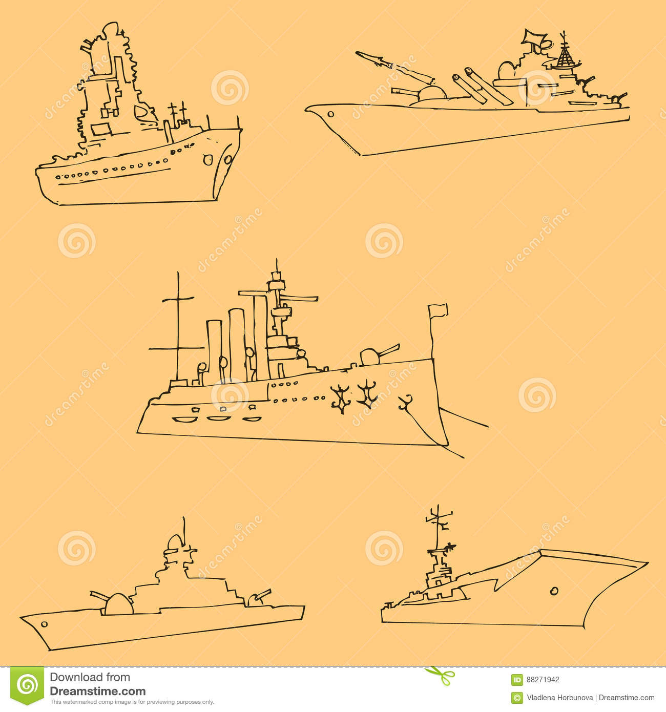 Vector Drawing Lines Review : Warships sketch by hand pencil drawing vector