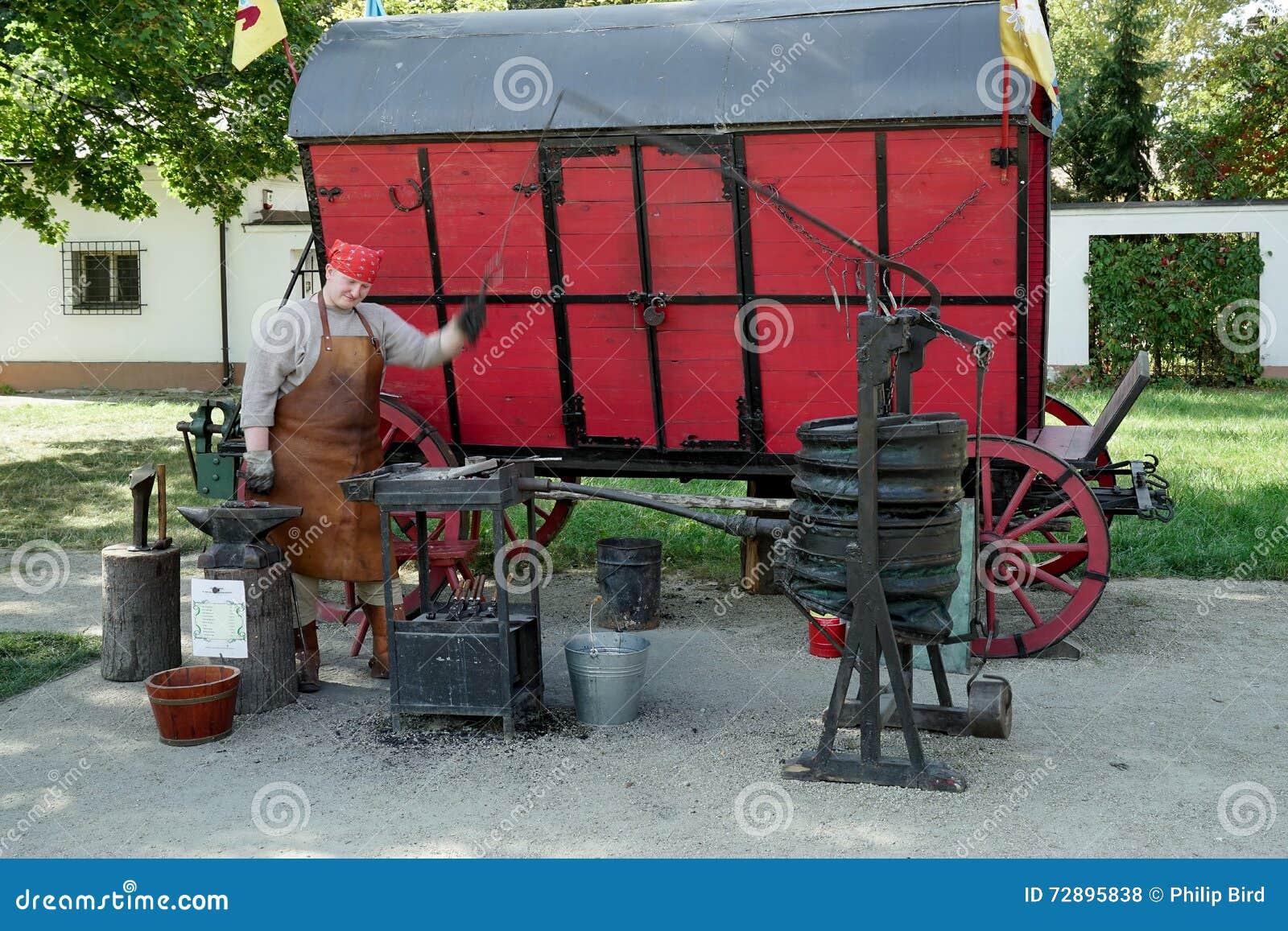 WARSZAWA, POLAND/EUROPE - WRZESIEŃ 17: Blacksmith stary reconst