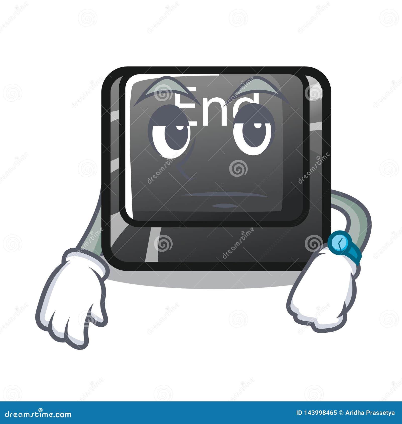 Warteendenknopf gelegen auf Karikaturtastatur