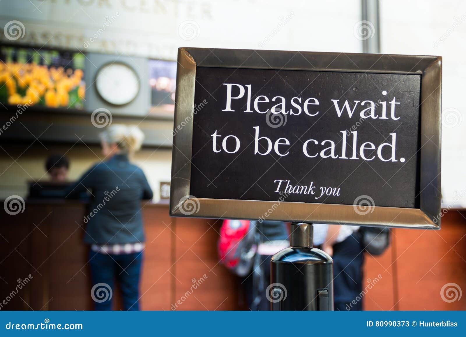 Warten Sie bitte, um Rufzeichen-Vorsicht-Linie zu sein danken Ihnen