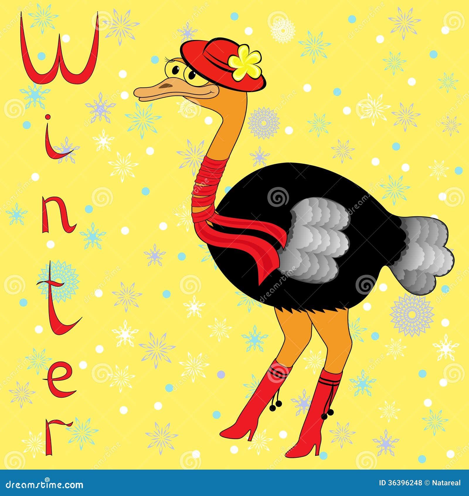 Warum Strauß Ist Im Winter So Kalt Vektor Abbildung Illustration