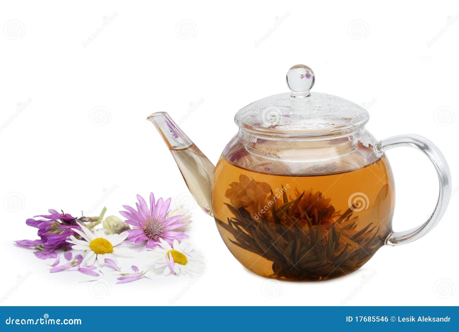 Warzący kwiecisty kwiatów herbaty teapot