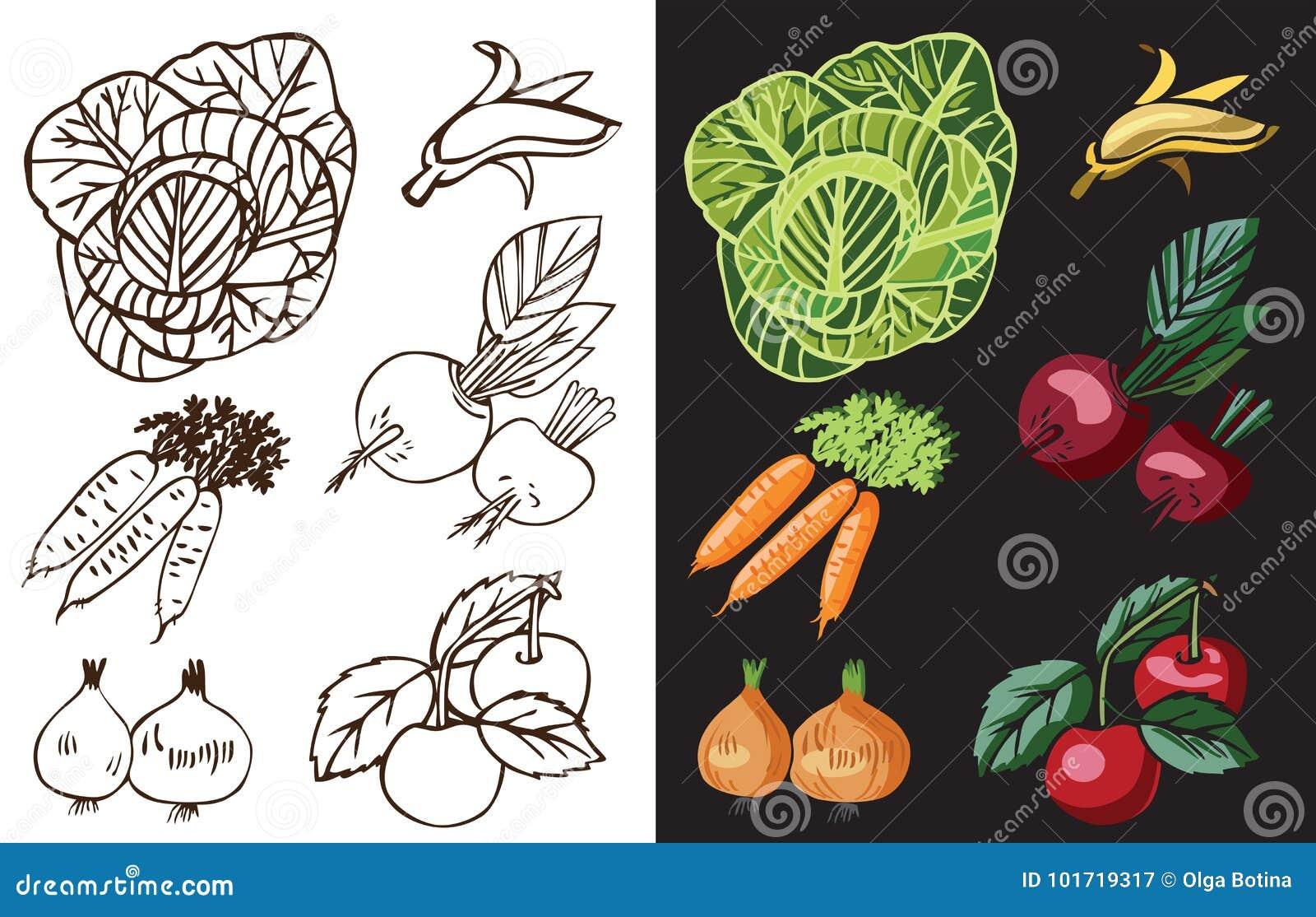 Warzywa i owoc na czerni