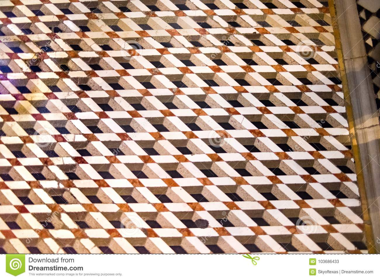 Escher like mosaic floor tile inside st marks basilica in venice royalty free stock photo dailygadgetfo Gallery
